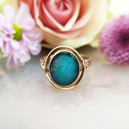 Vintage 9ct Yellow Gold Opal Triplet Ring in the Art Nouveau Style (1 of 6)