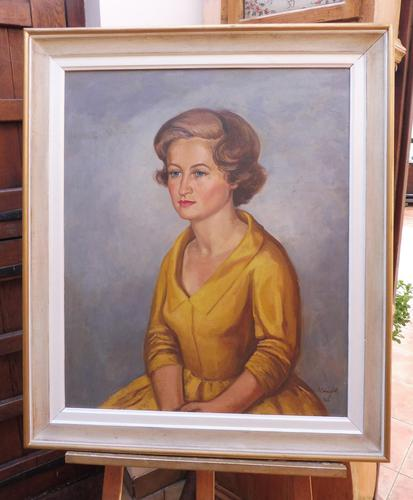 Large Oil on Canvas Girl in the Yellow Dress Artist A Wright 1962 (1 of 10)