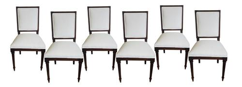 Set of Six Louis XVI Style Square-back Dining Chairs in Antique Linen (1 of 1)
