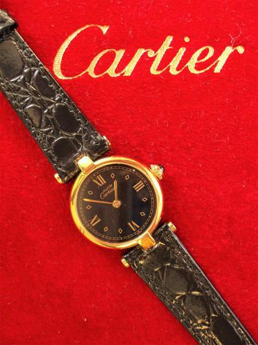 Cartier Vendome Quartz Wristwatch Black Face (1 of 3)