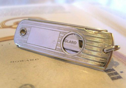 Vintage Pocket Watch Chain Fob 1930s Large Silver Chrome Valet Cigar Cutter Fob (1 of 12)