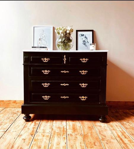 French Antique Black Chest of Drawers / Commode / White Marble 19th Century (1 of 5)