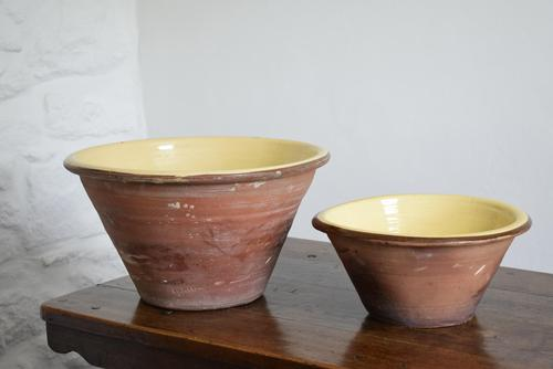 Set of 2 Large Earthenware Dairy Bowls from Smallbrook Potteries c.1900 (1 of 10)