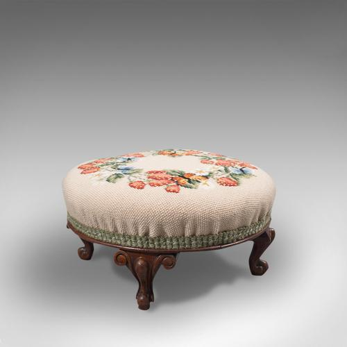 Small Antique Footstool, English, Walnut, Needlepoint Tapestry, Early Victorian (1 of 12)