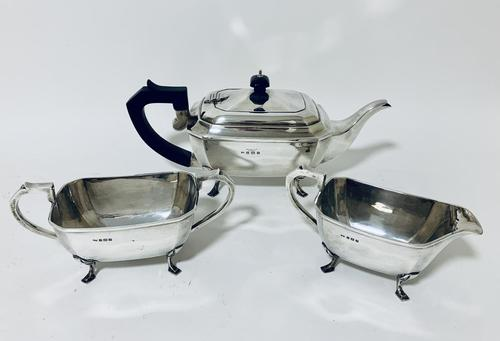Solid Sterling Silver Art Deco Three Part Tea Set Service (1 of 20)