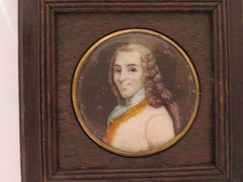 Miniature Portrait of Voltaire 2 of 2 Matching Oak Frames (1 of 3)