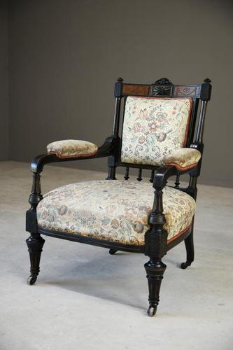 Ebonised Victorian Open Armchair (1 of 8)