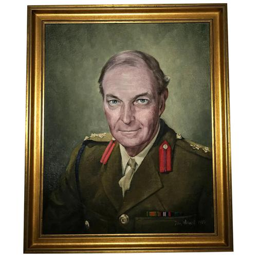 Fine 20th Century Portrait Oil Painting Military Officer British Army 2nd Signal Regiment (1 of 12)