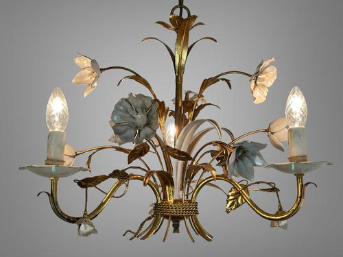 Pair of Vintage French 3 Arm Gilt Toleware Ceiling Light Chandeliers (1 of 10)