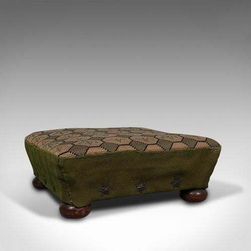 Small Antique Footstool, English, Needlepoint Tapestry, Stool, Victorian c 1850 (1 of 10)