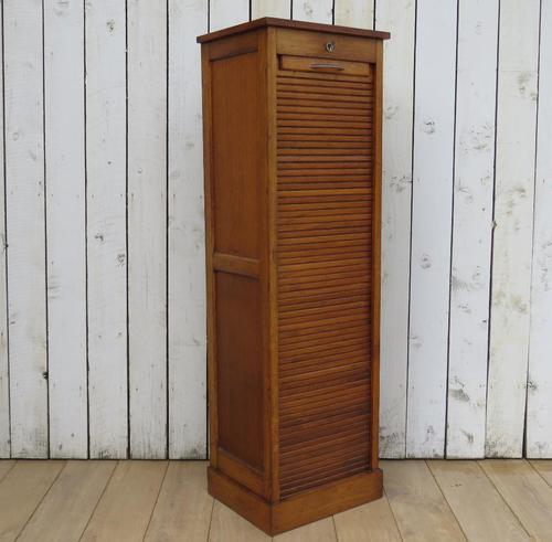 Industrial Oak Tambour Front Filing Cabinet (1 of 9)