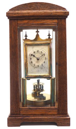 German Gustav Becker for BHA 400-Day Clock With disc pendulum silver & brass dial in Oak Case (1 of 8)