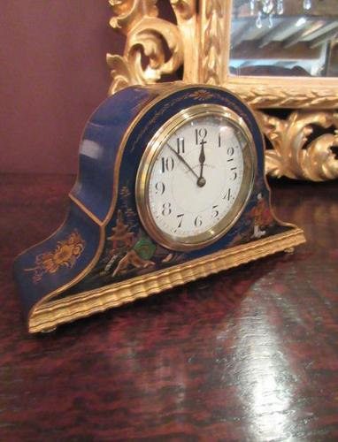 Antique Chinioserie Blue Lacquered Mantel Clock (1 of 7)