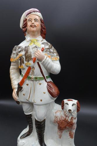 Late 19th Century Staffordshire Flatback Figure of Huntsman & Dog (1 of 5)