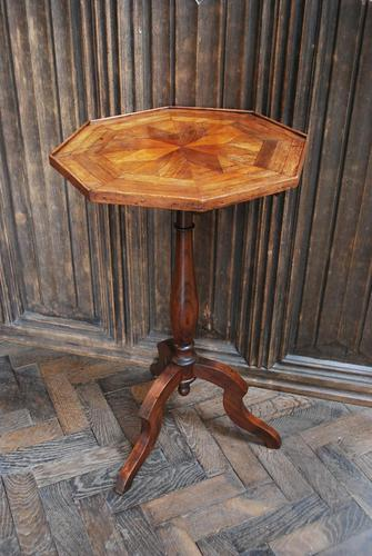 French Mixed Wood Octagonal Tripod Table (1 of 4)