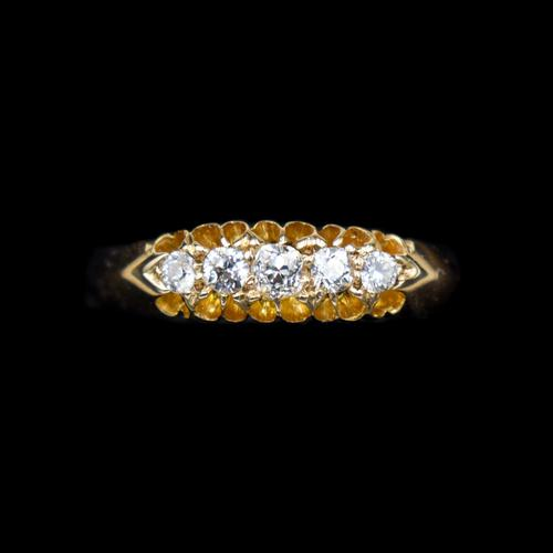 Antique Edwardian Old Cut Diamond Five Stone 18K Gold Ring (1 of 10)