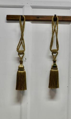 Large French Gold Silk Hand Made Tassels, Passementerie Curtain Tiebacks (1 of 5)