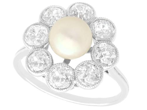 Natural Saltwater Pearl and 2.02ct Diamond, Platinum Dress Ring - Antique French Circa 1915 (1 of 12)