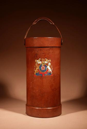 British Very Interesting Coat of Arms Shooting Stick / Umbrella / Walking Stick Leather Stand c.1920/1940 (1 of 5)