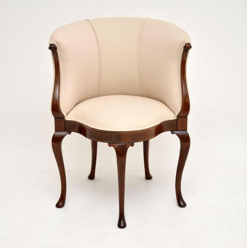 Antique Inlaid Mahogany Tub Chair (1 of 11)