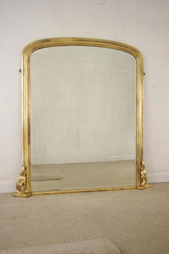 Giltwood Arch Top Overmantle Mirror with Bevelled Plate (1 of 8)
