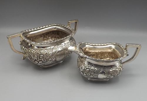 Victorian Rococo Silver Plated Milk Jug & Sugar Bowl - 1897 (1 of 9)