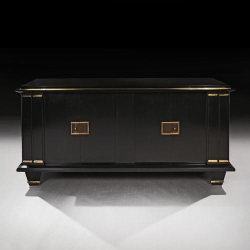 Jacques Adnet French Art Deco Modernist Ebonised Enfilade Sideboard with Gilt Bronze Mounts (1 of 12)