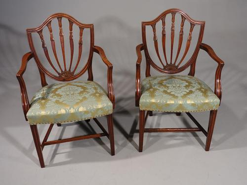 Exceptional Pair of George III Period Hepplewhite Elbow Chairs (1 of 7)