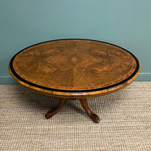 Victorian Oval Figured Walnut Inlaid Antique Side Table (1 of 7)