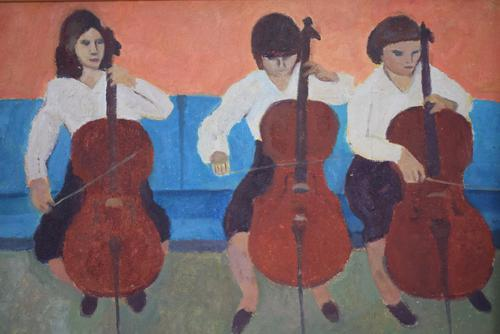 Mid Century Oil Painting on Board Three Cellists by Horas Kennedy (1 of 9)