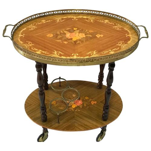 Italian Vintage 20th Century Marquetry Oval Champagne Drinks Server Trolley (1 of 14)