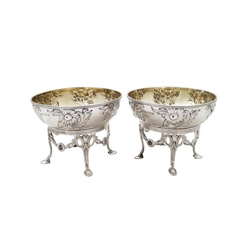 Pair of Antique Edwardian Sterling Silver Bowls / Dishes on Stands 1901 (1 of 9)
