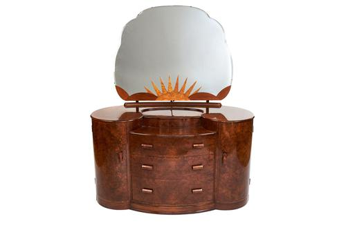 Art Deco Walnut Dressing Table with Sunburst Decoration c.1930 (1 of 5)