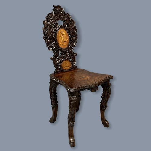 Black Forest Carved & Inlaid Hall Chair (1 of 8)