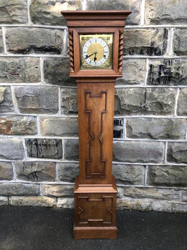 Antique Light Oak Grandmother Clock (1 of 12)