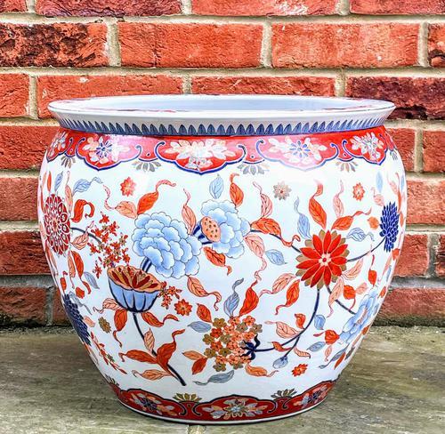 Large Late 19th Century Imari Guangxu Porcelain Fish Bowl (1 of 8)