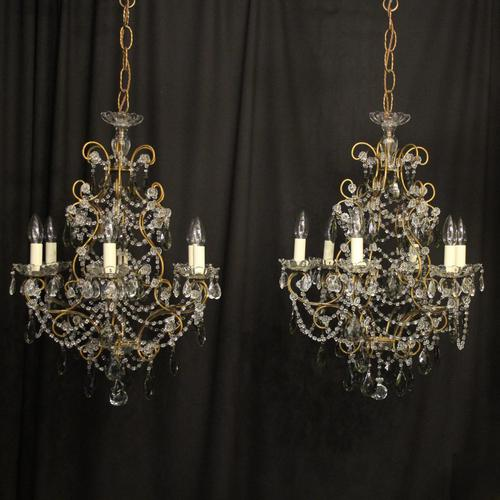 French Pair of Six Light Antique Chandeliers (1 of 10)