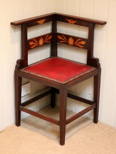 Mahogany Art Nouveau Corner Chair c.1900 (1 of 8)