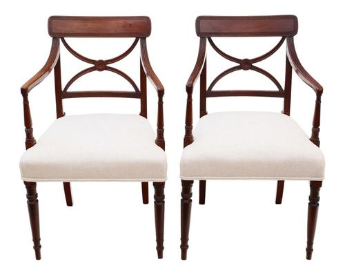Pair of Regency Elbow, Carver or Desk Chairs c.1820 X Back (1 of 8)