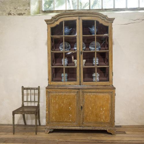 An Elegant 18th Century Dutch Vitrine Original Painted Glazed Cabinet - Yellow (1 of 15)