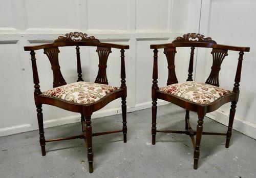 Pair of Edwardian Walnut Corner Chairs (1 of 6)