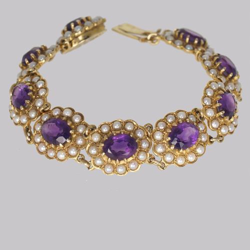 Victorian Amethyst & Seed Pearl Bracelet 9ct Gold Antique Bracelet c.1890 (1 of 11)