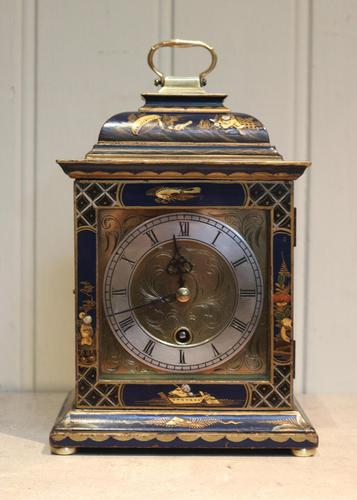 Small Blue Chinoiserie Bracket Clock (1 of 11)
