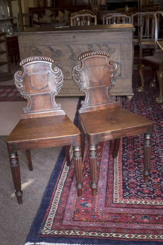 Pair of Late Regency Hall Chairs (1 of 3)