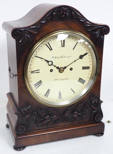 Antique English 8 Day Twin Fusee Bracket clock 8-Day Striking Double Fusee Mantel Clock By G Spiegelhalter & Co Whitechapel (1 of 13)