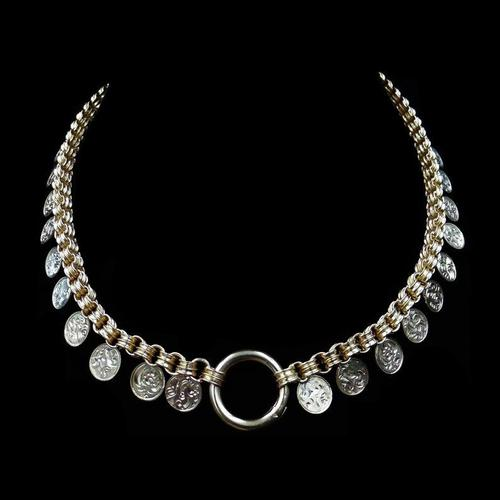 Antique Victorian Aesthetic Coin 18ct Yellow Gold on Sterling Silver Chain Collar Necklace (1 of 12)