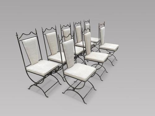 Set of Eight Steel Framed Chairs (1 of 6)