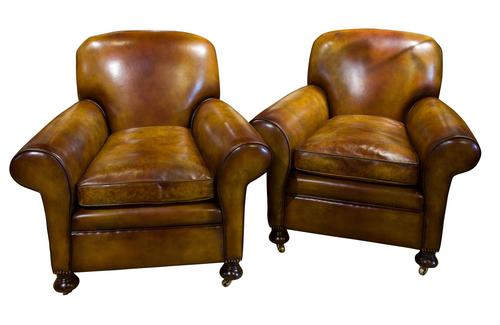 Pair of Leather Club Chairs c.1890 (1 of 11)