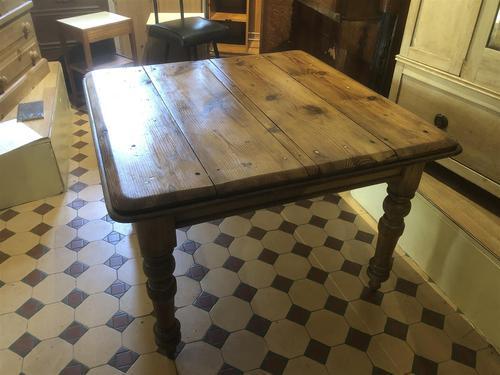 Antique Square Pine Rustic Kitchen Dining Table (1 of 7)