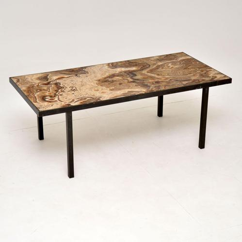 1950's Vintage Marble & Brass Coffee Table (1 of 10)